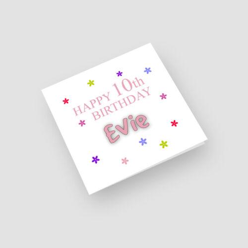 Daughter Granddaughter Her Flowers Personalised Handmade 10th Birthday Card