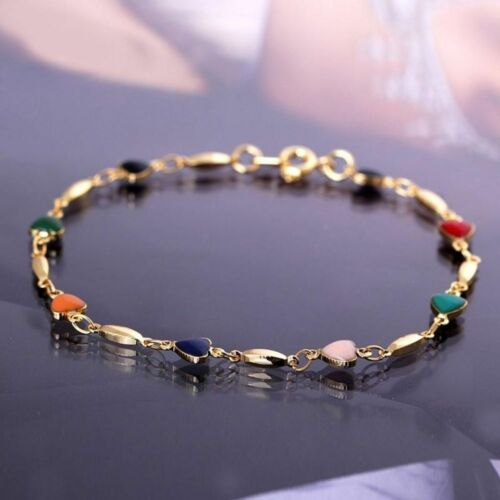 Cool Women 18K Gold Plated Bracelet Bangle Multicolor Zircon Heart  Bracelet