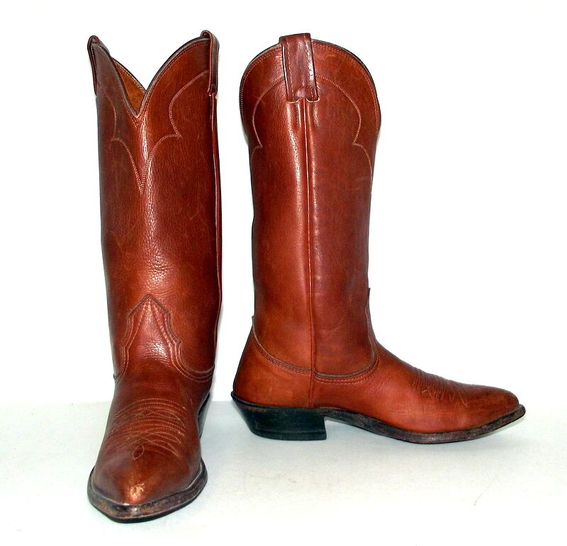 Womens 5.5 C Cowboy Boots Nocona Brown Leather Shoes Cowgirl Western Wide Ladies