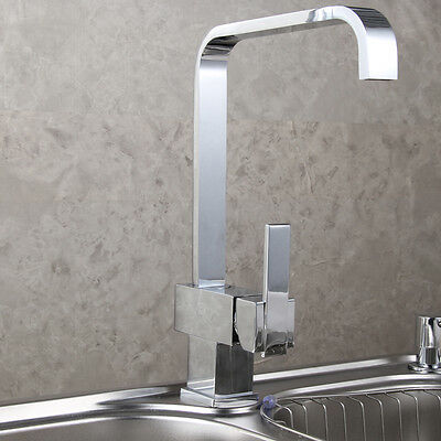 Chrome Single Lever Square Swivel Spout Sink Basin Mixer Faucer Filler HT
