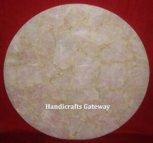 Natural Rose Quartz Round Coffee Table Top Gorgeous Quartz
