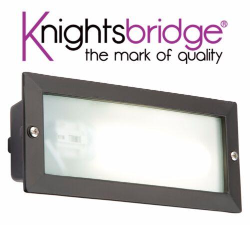 Knightsbridge PLBL01 Modern Outdoor Garden Recessed Wall Brick Light IP44 Black