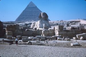 Sphinx and the Pyramid of Cheops Egypt Tourist 2 1965 Vintage Kodachrome Slide