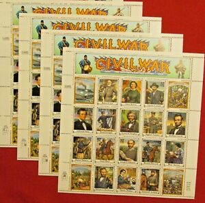 Four Sheets x 20 = 80 of American CIVIL WAR 32¢ US PS Postage Stamps. Sc # 2975