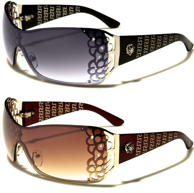Diseñador Kleo Wrap gafas de sol de gran tamaño sin montura Shield UV400 señoras para mujer chicas