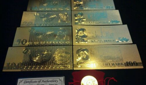 10-100 ☆7Pc.LOT~COIN/&FLAKE+.999 GOLD GERMAN MARK BANKNOTE REP.*SET +SILVER BAR