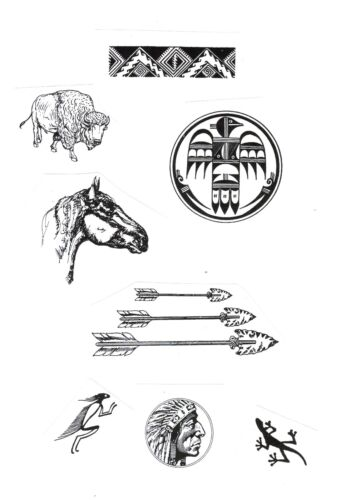 8 Southwestern UNMounted rubber stamps Horse Arrows Buffalo Indian