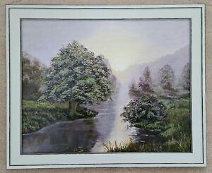 Quadro OLIO restaurando dipinti a mano Pastello fiume foresta romanticismo + quadro 24x30