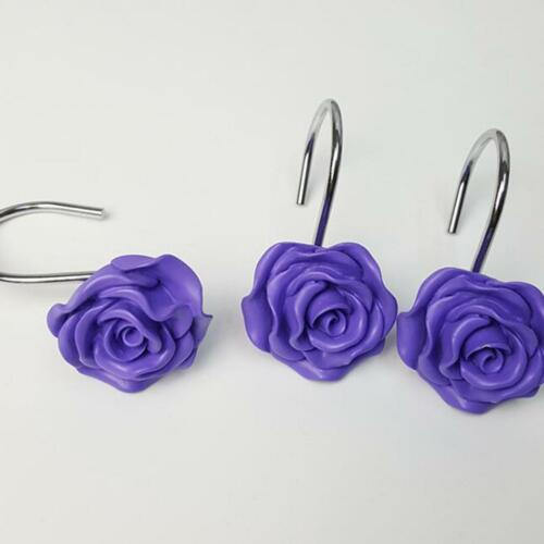 Rose Flower Resin Floral Rolling Shower Curtain Hooks Home Supplies Hot Sale H Shower Curtain Hooks Bath