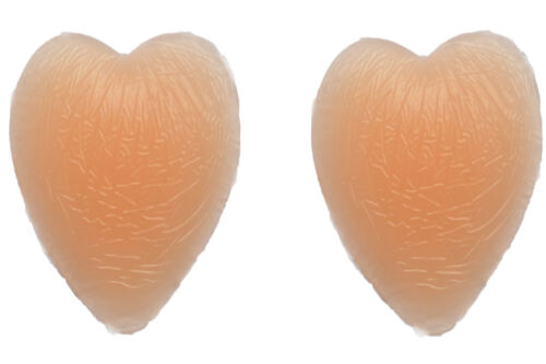 REUSEABLE Self Adhesive Nipple Covers Beige Silicone Stick On Hearts Shape PS05