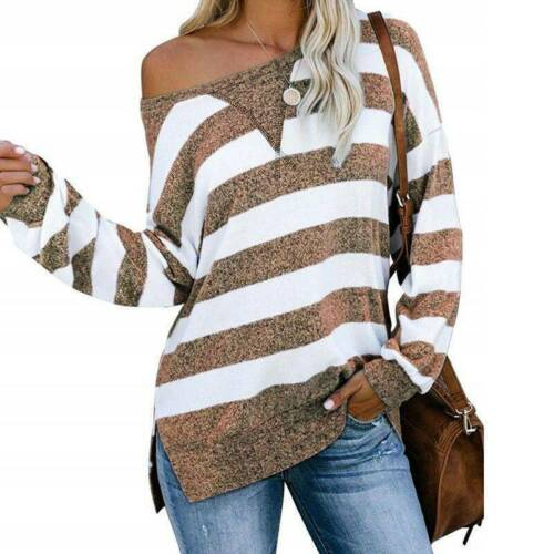 Women Long Sleeve Striped T Shirts Casual Loose Baggy Blouse Tops Plus Size 8-22
