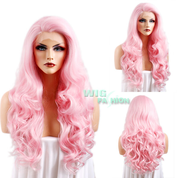 "26"" Long Pink Curly Wavy Lace Front Synthetic Wig Heat Resistant"