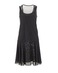 7c4061fa34 Women s DKNY Donna Karan leather sequins details dress black color ...