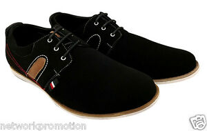 Men's Lace Up Shoes Faux Suede Formal Casual Smart Business Classic Black NEW
