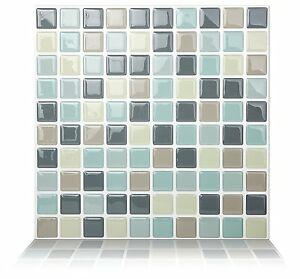 Tic-Tac-Tiles-Premium-3D-Peel-amp-Stick-Wall-Tile-in-Mosaic-Mintgray-10-sheets