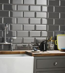 Image Is Loading Tile Samples London Bevelled Midnight Grey Gloss Metro