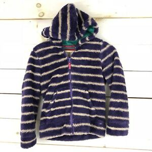 384ea30b3c1 Girls Mini Boden White and purple Stripe Teddy Hooded Jacket 9-10 ...