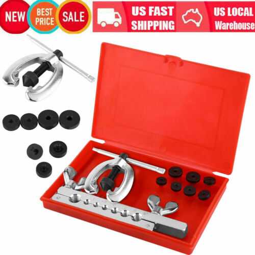 7 Dies Double Flare Tube Brake Lines Pipe Air Condition Tools Flaring Kit Box US