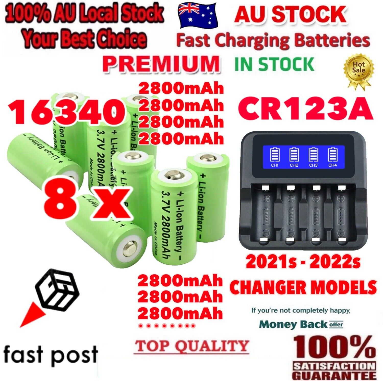 8x 2800mAh 16340 CR123A Rechargeable Battery & USB Charger for Arlo Camera