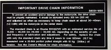 KAWASAKI ZX10 ZX-10 TOMCAT NINJA IMPORTANT DRIVE CHAIN CAUTION WARNING DECAL