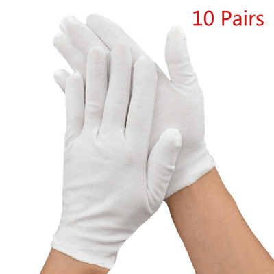 10Pairs Long White Cotton Inspection Gloves Jewelry Health Work Hand Protection
