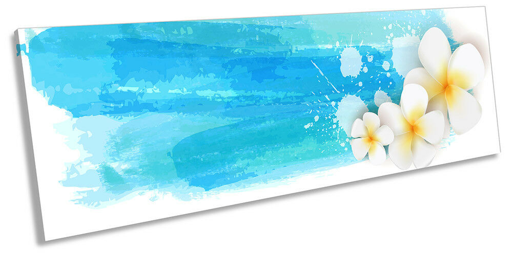 Blau Floral Modern Weiß PANORAMA CANVAS WALL ARTWORK Print Art