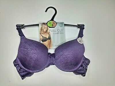 M/&S 2 PACK SIZE 32A LILAC FLORAL FULL CUP T-SHIRT MOULDED UNDERWIRED BRA