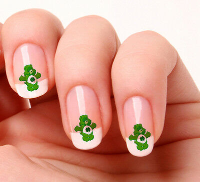 20 Nail Art Decals Transfers Stickers #191  - 4 Leaf Clover Lucky Bear