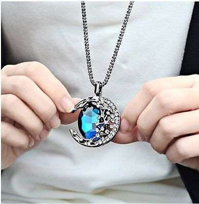Fashion jewelry Crystal Moon Retro long Pendant sweater Chain Necklace ZW188