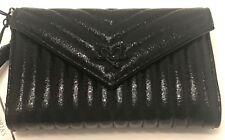 Victoria's Secret Black Quilt Metallic Crackle Wallet Wristlet Clutch Bag