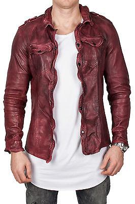 Echtes Schafsleder Lederhemd Herren Lederjacke Stil Leather Shirt rot Männer XXL