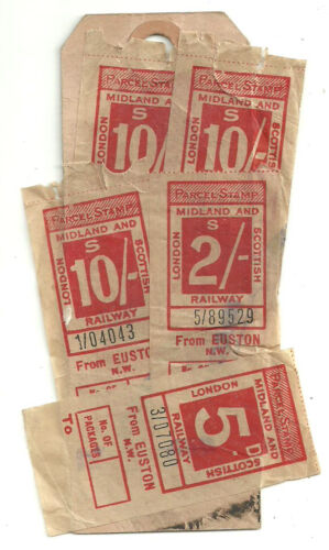 10 X3 2 5D LONDON MIDLAND AND SCOTTISH RAILWAY STAMPS EUSTON NW PARCEL TAG