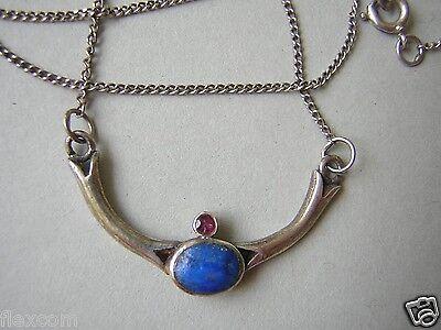 Fine Jewelry Zierliche 925 Sterling Silber Collier/kette Mit Lapislazuli & Rotem Stein 2,9 G Top Watermelons