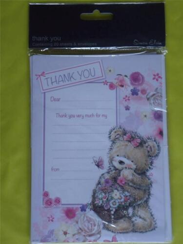 CUTE TEDDY BEAR by SIMON ELVIN 20 SHEETS 20 THANK YOU CARDS  GIRLS FEMALE