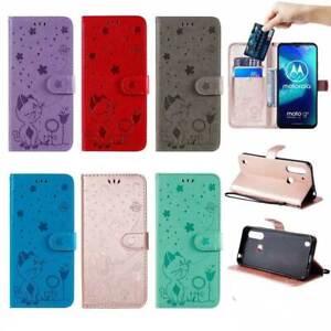 Cat Bee Wallet Leather Flip Case Cover For Motorola G9 Plus E6s G8 Power Lite