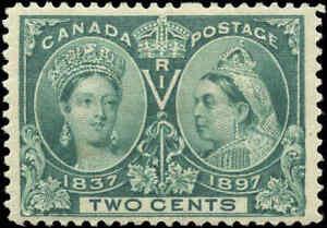 1897-Mint-H-Canada-F-VF-Scott-52-2c-Diamond-Jubilee-Issue-Stamp