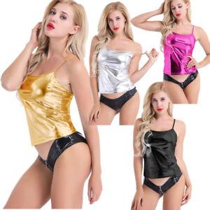 Women-Shiny-Metallic-Sleeveless-Vest-Tank-Top-Hip-Hop-Jazz-Camisole-Tee-Clubwear