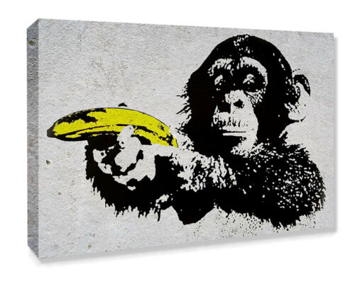 BANKSY CANVAS STREET WALL ART PRINT ARTWORK MONKEY BANANA GUN