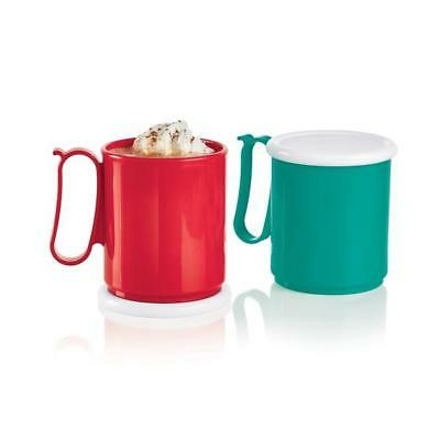 Tupperware 2 Mega Mugs Set Coffee Tea Soup Cups Lids Microwave Safe New Ebay