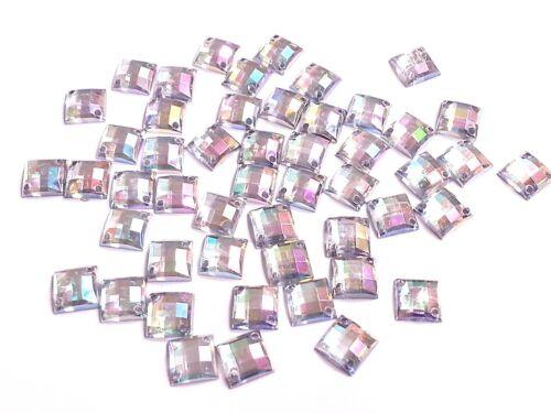 50 8mm AB transparent carré à coudre à coller sur Strass cristal couture