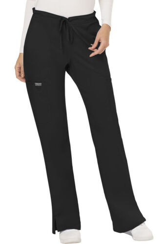 Scrubs Cherokee Workwear Mid Rise Drawstring Petite Pant WW120P BLK Black