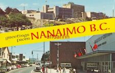 GREETINGS FROM NANAIMO B.C. CAN 1963 Post office, Hotel Malaspina & Victoria Cre
