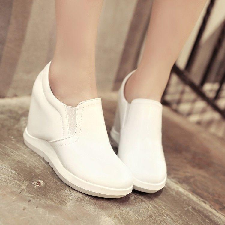 Vogue Womens Hidden Wedge Heel Pumps Casual Athletic shoes Sport Sneaker Pull On
