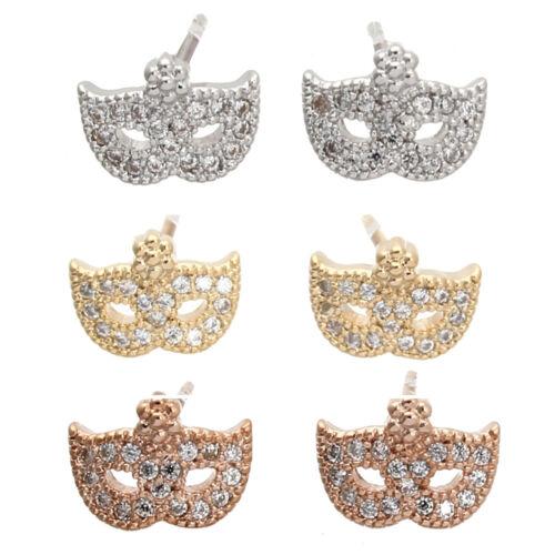 Paire Boucle d/'Oreille Clou MASQUE Cuivre Diamant CZ Bijou Déco Cadeau Femme Hot