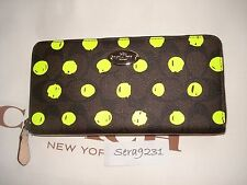 NWT COACH Signature Brown  Neon Polka Dot Accordion Zip Wallet F52578