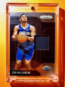 Zion-Williamson-GAME-WORN-JERSEY-PATCH-SWATCH-CARD-PANINI-PRIZM-SENSATIONAL-Mint