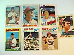 Lot 7 Topps 1970's Boston Red Sox Lot 1973 #245 Carl Yastrzemski Dwight Evans