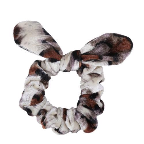 Women Elastic Bow Hair Tie Ring Rope Scrunchies Elastic Leopard Ponytail Holders