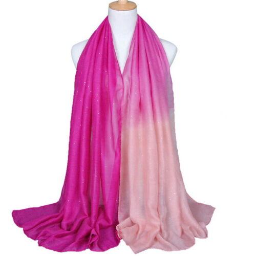 Glitter Damen Voile Gradient Shawl Stole Hochzeit Bolero Tuch Lange Schal KUS