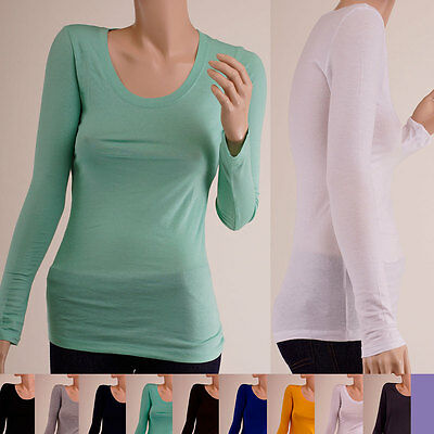 BASIC LONG SLEEVE Round-Neck SOLID Cotton Casual Tight Thin T-Shirt S ~ 3XL